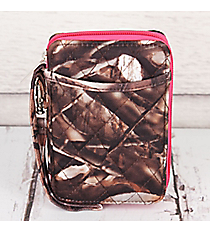 BNB Natural Camo Quilted Wristlet #SN495-HPINK