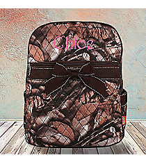 BNB Natural Camo Quilted Large Backpack with Brown Ribbon #SNQ2828-BROWN