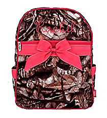 BNB Natural Camo Quilted Large Backpack with Hot Pink Ribbon #SNQ2828-HPINK