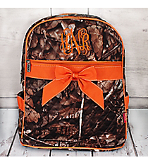 BNB Natural Camo Quilted Large Backpack with Orange Ribbon #SNQ2828-ORANGE
