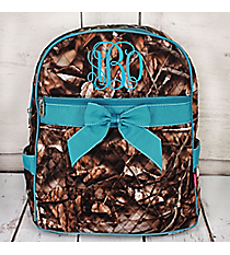 BNB Natural Camo Quilted Large Backpack with Turquoise Ribbon #SNQ2828-TURQ