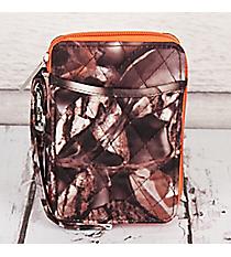 Natural Camo with Orange Trim Quilted Wristlet #SNQ495-ORANGE