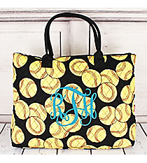 Large Shoulder Tote in Quilted Softball #SOF3907-BLACK