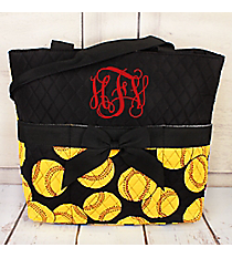 Softball Quilted Diaper Bag #SOF2121-BLACK
