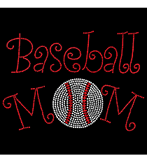 "Radiant ""Curly Baseball Mom"" 7.25"" x 9.75"" Rhinestone Applique Iron-On SP02 *Personalize Your Colors"