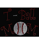 "Dazzling ""T-Ball Mom"" 7"" x 9.5"" Rhinestone Applique Iron-On SP03 *Personalize Your Colors"