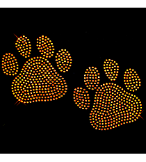 "Sparkling ""Paw Prints"" 3.75"" x 6.25"" Rhinestone Applique Iron-On SP11 *Personalize Your Colors"