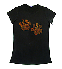 "Sparkling ""Paw Prints"" Ladies Short Sleeve Fitted T-Shirt 3.75"" x 6.25"" Design SP11 *Personalize Your Colors"