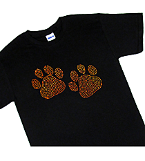 "Sparkling ""Paw Prints"" Short Sleeve Relaxed Fit T-Shirt  3.75"" x 6.25"" Design SP11 *Personalize Your Colors"