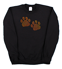 "Sparkling ""Paw Prints"" Heavy-weight Crew Sweatshirt 3.75"" x 6.25"" Design SP11 *Personalize Your Colors"