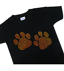 "Sparkling ""Paw Prints"" Youth Short Sleeve Relaxed Fit T-Shirt 3.75"" x 6.25"" Design SP11 *Personalize Your Colors"