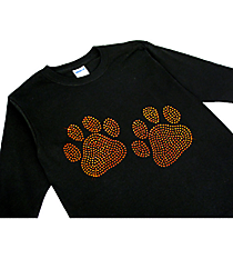 "Sparkling ""Paw Prints"" Youth Long Sleeve Relaxed T-Shirt 3.75"" x 6.25"" Design SP11 *Personalize Your Colors"