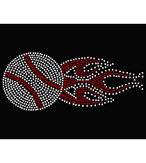 "Dazzling ""Flaming Baseball"" 3.25"" x 8.75"" Rhinestone Applique Iron-On SP12 *Personalize Your Colors"
