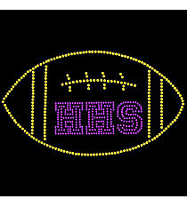 "Radiant ""Team Football"" 4.25"" x 7.25"" Rhinestone Applique Iron-On SP13 *Personalize Your Initials and Colors"