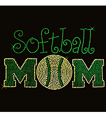 "Radiant ""Athletic Softball Mom"" 6"" x 9.5"" Rhinestone Applique Iron-On SP15 *Personalize Your Colors"