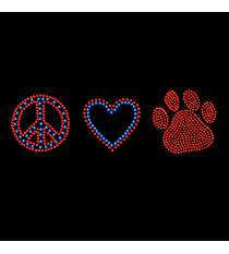 "Dazzling ""Peace, Love and Paw Print"" 2.25"" x 7.5"" Rhinestone Applique Iron-On SP17 *Personalize Your Colors"