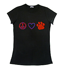 "Dazzling ""Peace, Love and Paw Print"" Ladies Short Sleeve Fitted T-Shirt 2.25""x 7.5"" Design SP17 *Personalize Your Colors"