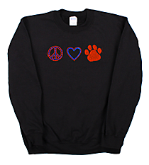"Dazzling ""Peace, Love and Paw Print"" Heavy-weight Crew Sweatshirt 2.25""x 7.5"" Design SP17 *Personalize Your Colors"