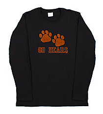 "Dazzling ""Paw Prints"" Long Sleeve Relaxed T-Shirt 5""x 8"" Design SP20 *Personalize Your Text and Colors"