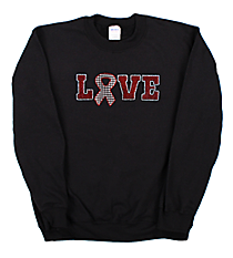 "Glitzy ""Love Ribbon"" Heavy-weight Crew Sweatshirt 4"" x 10"" Design SP22 *Personalize Your Colors"