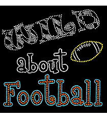 "Dazzling ""Wild About Football"" 8.75"" x 8.75"" Rhinestone Applique Iron-On SP23 *Personalize Your Colors"