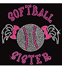"Sparkling ""Softball Sister"" 7"" x 7.25"" Rhinestone Applique Iron-On SP28 *Personalize Your Colors"