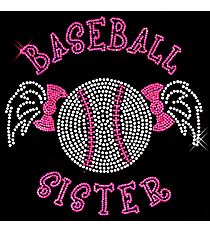 "Sparkling ""Baseball Sister"" 7"" x 7.25"" Rhinestone Applique Iron-On SP29 *Personalize Your Colors"