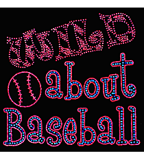 "Sparkling ""Wild About Baseball"" 8.5"" x 8"" Rhinestone Applique Iron-On SP38 *Personalize Your Colors"