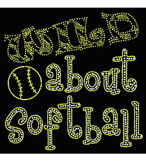 "Sparkling ""Wild About Softball"" 8.5"" x 8"" Rhinestone Applique Iron-On SP39 *Personalize Your Colors"