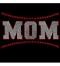 "Sparkling ""Mom Baseball"" 11"" x 6.75"" Rhinestone Applique Iron-On SP41 *Personalize Your Colors"