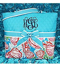 Seaside Bliss Quilted Diaper Bag with Aqua Trim #SQD2121-AQUA