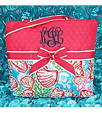 Seaside Bliss Quilted Diaper Bag with Hot Pink Trim #SQD2121-HPINK