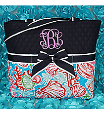 Seaside Bliss Quilted Diaper Bag with Navy Trim #SQD2121-NAVY