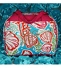 Seaside Bliss Insulated Bowler Style Lunch Bag with Hot Pink Trim #SQD255-HPINK