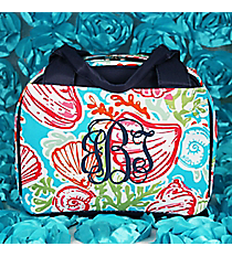 Seaside Bliss Insulated Bowler Style Lunch Bag with Navy Trim #SQD255-NAVY