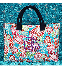 Seaside Bliss Wide Tote Bag with Navy Trim #SQD581-NAVY