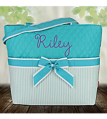 Aqua Striped Seersucker Quilted Diaper Bag #SR2121-AQUA
