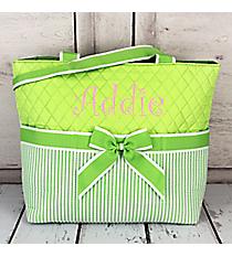 Lime Striped Seersucker Quilted Diaper Bag #SR2121-LIME