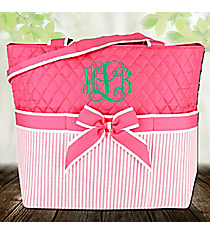 Pink Striped Seersucker Quilted Diaper Bag #SR2121-PINK