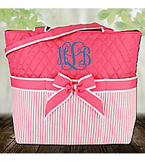 Pink Striped Seersucker Quilted Diaper Bag #SR2121-PINK