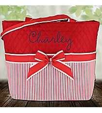 Red Striped Seersucker Quilted Diaper Bag #SR2121-REDQuilted Diaper Bag #SR2121-PINK