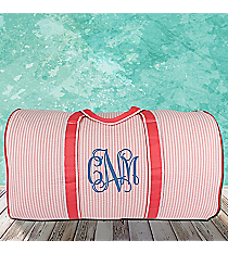 "21"" Coral Striped Seersucker Duffle Bag #SR2626-CORAL"