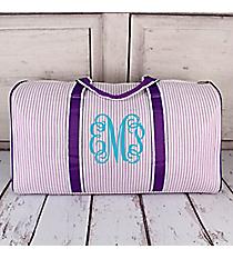 """Purple Striped Seersucker Duffle Bag 21"""" #SR2626-PURPLE"""