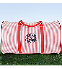 "21"" Red Striped Seersucker Duffle Bag #SR2626-RED"