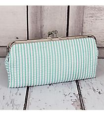 Twice as Nice Clutch Wallet in Aqua Striped Seersucker #SR333-AQUA