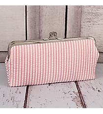 Twice as Nice Clutch Wallet in Coral Striped Seersucker #SR333-CORAL