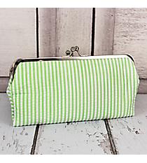 Twice as Nice Clutch Wallet in Lime Striped Seersucker #SR333-LIME