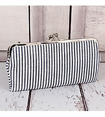 Twice as Nice Clutch Wallet in Navy Striped Seersucker #SR333-NAVY