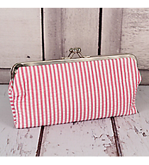 Twice as Nice Clutch Wallet in Pink Striped Seersucker #SR333-PINK