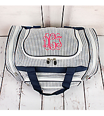 "Navy Striped Seersucker Duffle Bag 17"" #SR417-NAVY"